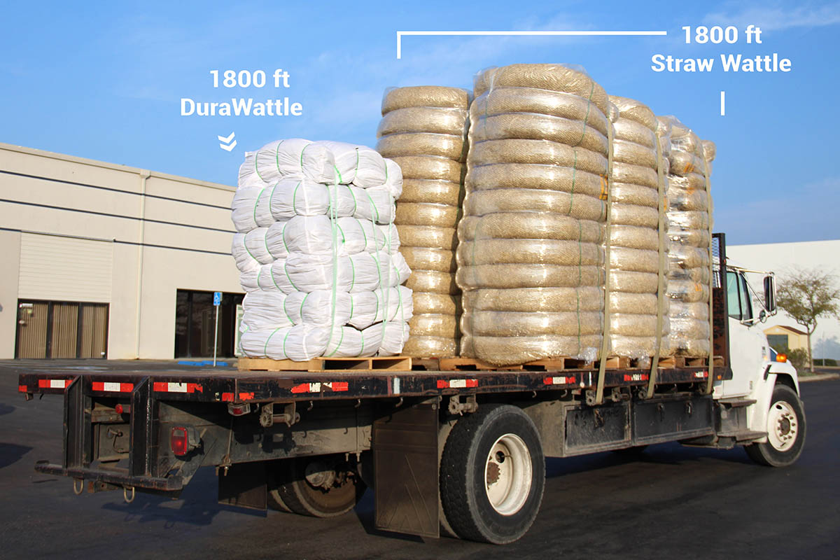 DuraWattle ships compressed 1800ft per pallet for easy distribution.